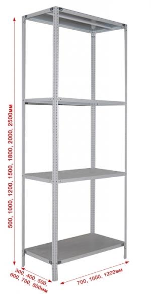 Стеллаж металлический сборный 274-2.0 купить на выгодных условиях в Белгороде